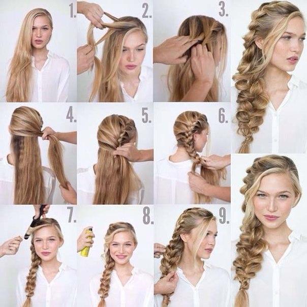 Прически на каждый день своими руками на длинный волос 11