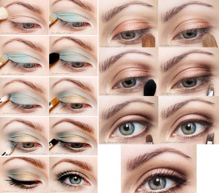 Дневной красивый макияж для серых глаз и