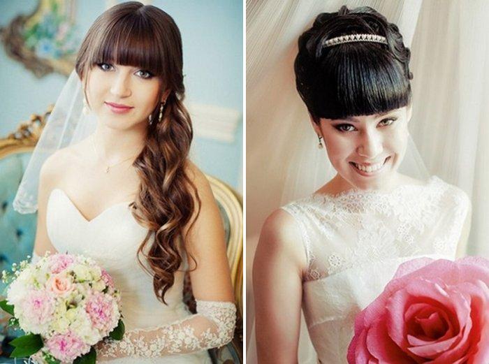 Прически с длинными волосами и короткой челкой для невесты